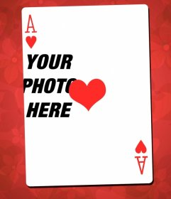 Picture frame with the ace of hearts as main feature