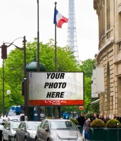 Photomontage of a billboard in Paris with the Eiffel Tower in the background and several flags of France