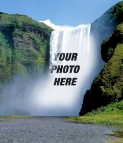Photomontage with waterfalls to put a photo online