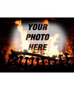 Photomontage with the image of a fireplace with burning logs and your online uploaded picture overlaid with the fire
