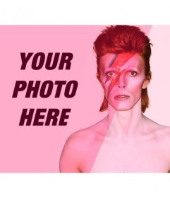 Photomontage with David Bowie with pink filter to add and edit your photos online