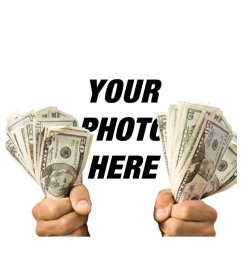 Put your picture with two wads of cash seized in your hands!