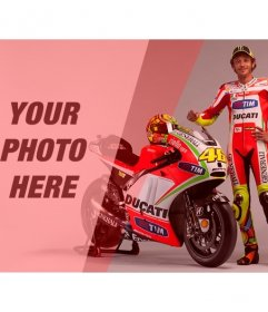 Create a photomontage with Valentino Rossi, motorcycle racer, with his red and white bike and a red filter to your photo