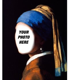 Face in hole with the girl with a pearl earring