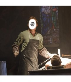 Photomontage of the serial murderer Dexter Morgan in a church