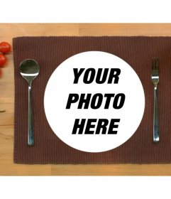 Put your picture in a plate of food served at the table with this mounting