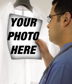 Photomontage in which a doctor is examining a radiograph in which you can put your picture