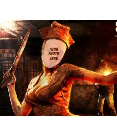 Create a photo montage with the terrifying zombie nurse of Silent Hill