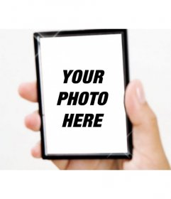 Create a photomontage with light reflections mirror held by a hand and add a picture on it