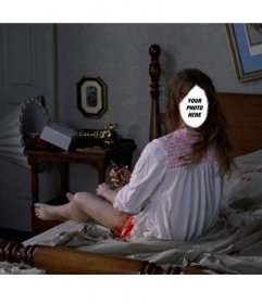 Photomontage to be the exorcist´s girl in a scene from the horror film in which she turns completely her head over her bed
