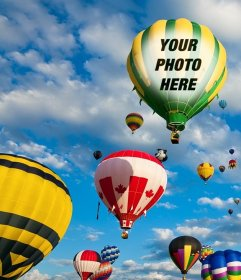 Photomontage with colorful balloons flying in the blue sky where you can put a photo on the fabric of one of the balloons