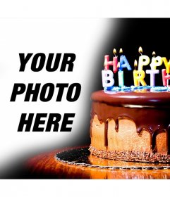 Chocolate cake with candles where you can put your pictures