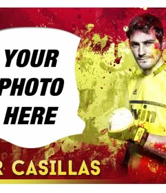 Photomontage with Iker Casillas and Spain Flag background