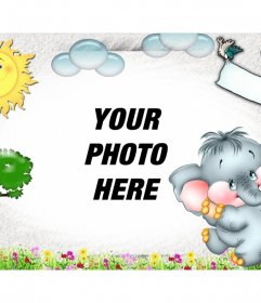 Children photomontage with your photo of background and drawn landscape
