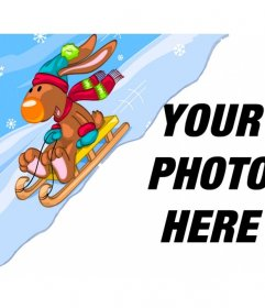 Child photomontage with a reindeer on a snow sled