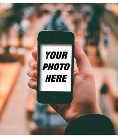 Collage to put your photo in an iPhone with a  museum as background