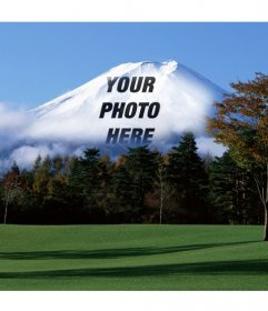 Photomontage with Japanese landscape with Fuji mountain in the background in which your online uploaded picture will appear faded