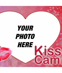 Upload your photo giving a kiss to someone to this original effect of KISS CAM