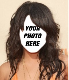 Wear a hairstyle with long wavy hair with this photomontage online