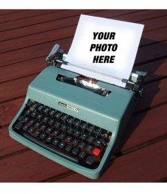 Photomontage with a vintage typewriter olivetti turquoise with a paper to put a picture