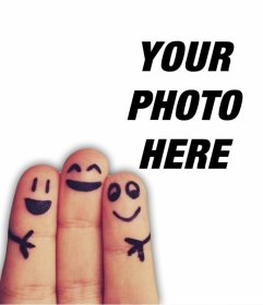 Photo frame for friends with three happy fingers and edit with your photo