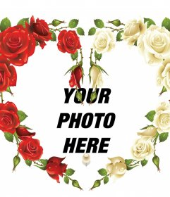 Photo frame of a heart with red and white roses