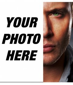 Create a photomontage merging half the face of Jensen Ackless rivalizing yours to the opposite side