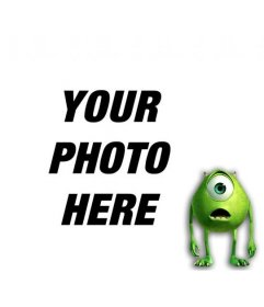 Photomontage to add a green monster with one eye to a photo and customize with text