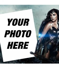Photo effect to customize with your photo next to the new Wonder Woman