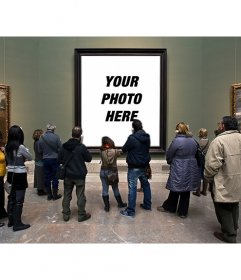 Photomontage in the Museo del Prado with visitors watching a painting to put a picture in the hole