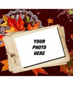 Photomontage autumn card with a polaroid effect