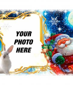 Photo frame with Santa Claus and his sleigh to personalize with your photo
