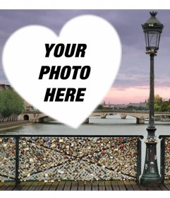 Photo effect with the bridge of padlocks of love in Paris to add your photo