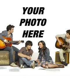 Photomontage with the main characters in Camp Rock 2. Xxx Sing along with the Jonas Brothers and Demi Lovato in the musical of the year. Place your photo on the collage and have a nice frame of Camp Rock 2 to use as often as you like
