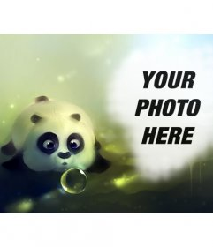 Photomontage with a panda drawn blowing a soap bubble and a hole on the right to put a photo
