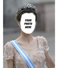 Photomontage of the Princess Letizia with a great crown to insert your photo