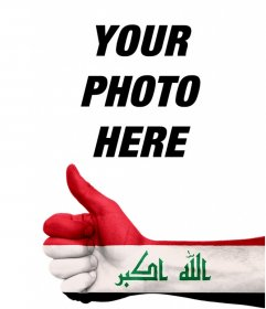 Photo effect to add in your photos a hand with the flag of Iraq