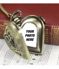 Photomontage with a pocket watch heart shaped to put a photo of your partner inside