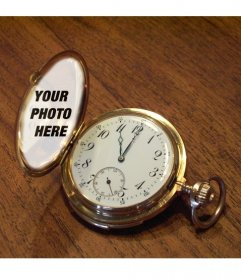 Photomontage with a pocket watch on a wooden table where you can put your photo on the golden cover