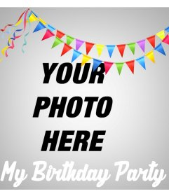 Online effect to upload your photo and celebrate your birthday party