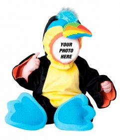 """Photomontage in which you""""ll dress your baby with a colorfull toucan costume with online"""
