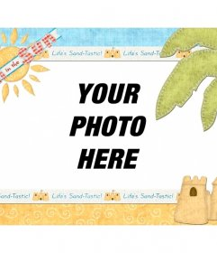 Photomontage summer on the beach with your photo of background