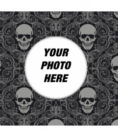 Wallpaper to edit with a photo and decorate with skulls