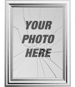 Digital picture frame, your image will be reflected in a broken mirror. May seem curious effect of a picture frame with the glass broken