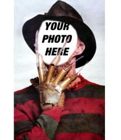 Photo montage of Freddy Krueger with his claws in the face