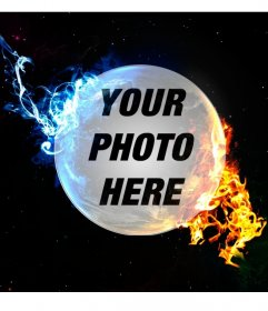 Online collage of a planet with red and blue light for your photos