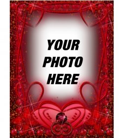 Photo frame with ruby red hearts and strokes