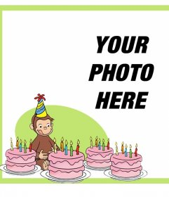 Editable birthday card with Curious George for your photo