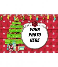 Striking card with a tree and decorative lights to put your photo
