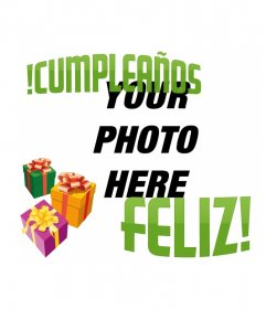 Make a birthday greeting card with your picture with this photomontage. Your photo will be accompanied by 3 gifts of colors and a happy birthday green